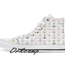 Vintage retro sailor girly floral náuticos anclas personalizado Casual alto cordones de lona zapatos zapatillas Drop shipping