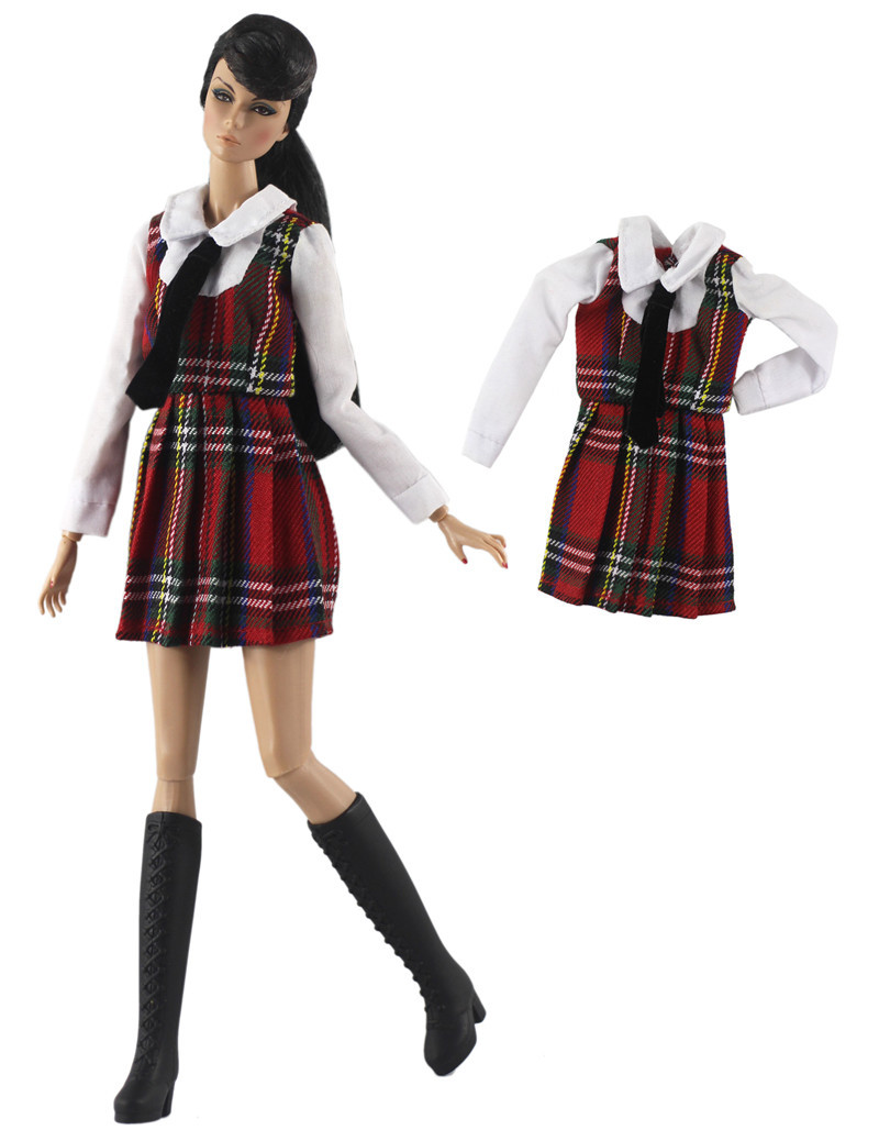 NK One Pcs 2020 Doll Dress Clothes Fashion Skirt Uniform Plaid Coat For Barbie Doll Accessories Child Toys Girls' Gift 334A 01X