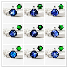 New retro luminous silver plated twelve constellation pendant necklace full set of jewelry