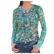 Vintage Grunge Aesthetic Style Long Sleeve Shirt Women O-neck Tops Flowers Print Female T-Shirt Slim Tshirt Moda Mujer 2020 Ropa