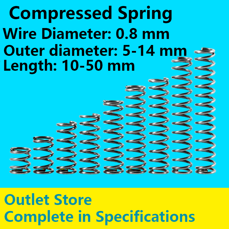 Rotor Pressure Spring Compressed Spring Big and small Spring Outlet Store Line Diameter 0.8mm, External Diameter 5-14mm 10Pcs
