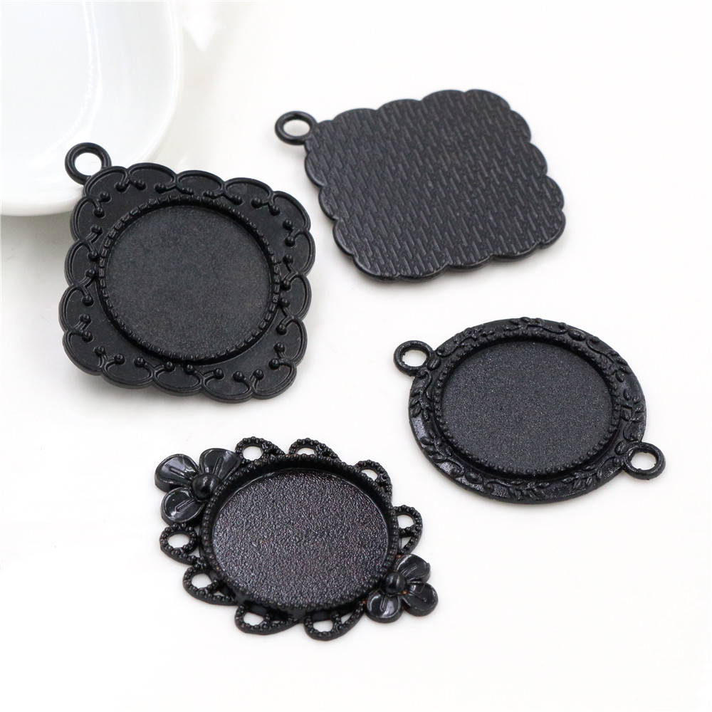 5pcs 20mm Inner Size Black Plated  3 Style Flower Style Cabochon Base Setting Charms Pendant