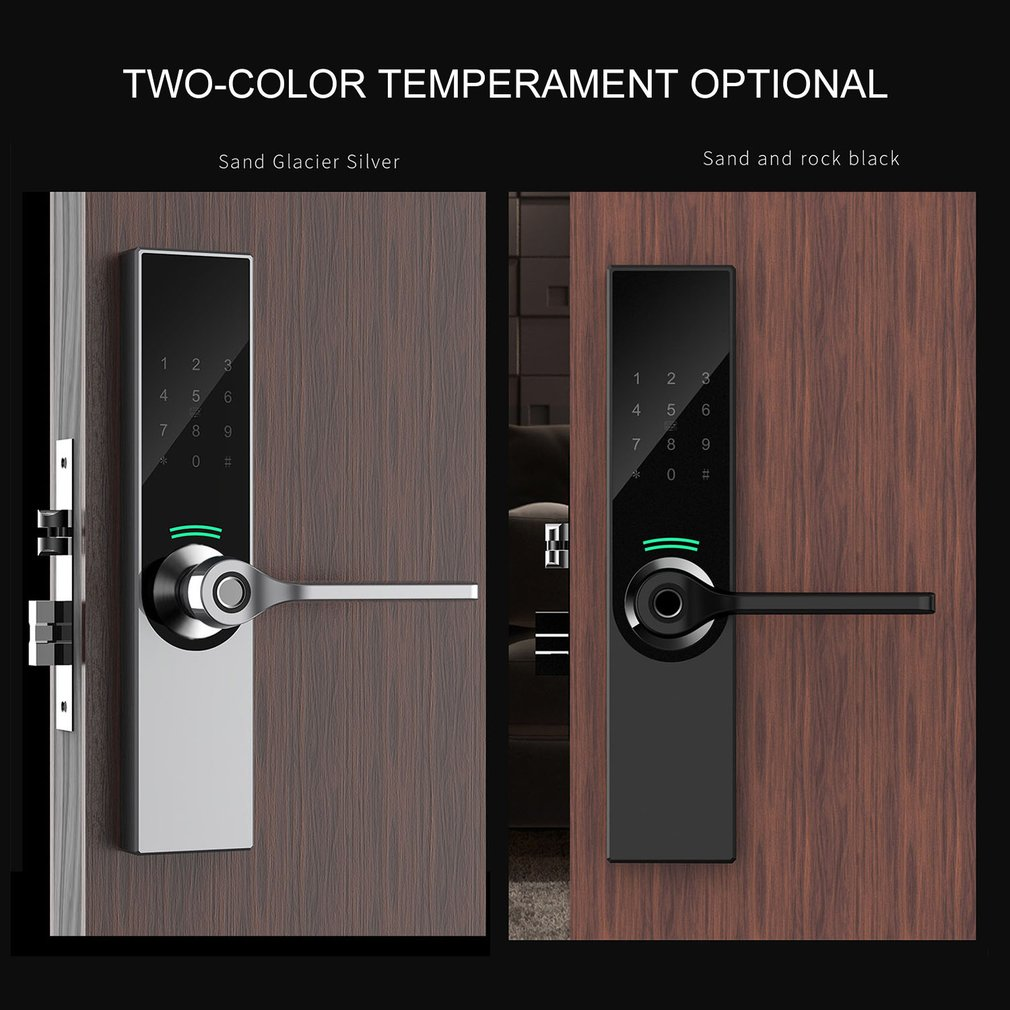 Digital Biometric Fingerprint Lock Keyless Smart Door Lock Fingerprint+Password+RFID Card+Key+APP Unlocking 5 Ways
