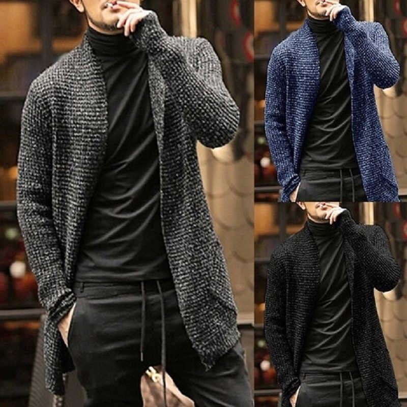 Mens Sweater Long Sleeve Cardigan Males Pull Style Clothings Thick Warm Coat