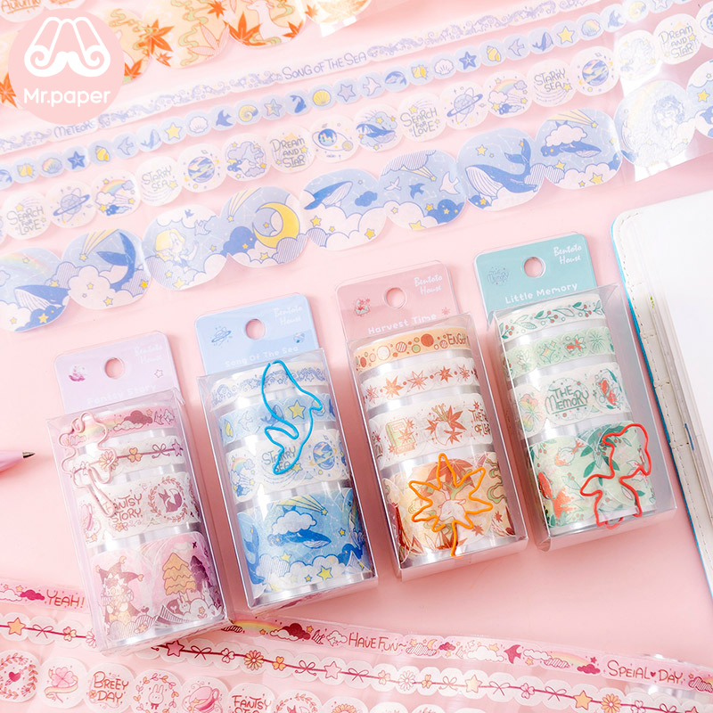 Mr Paper 4 Designs Creative Die-cutting Journal Decoration Washi Tape With Clip Scrapbook Cut-off Rule Pure Color Masking Tapes