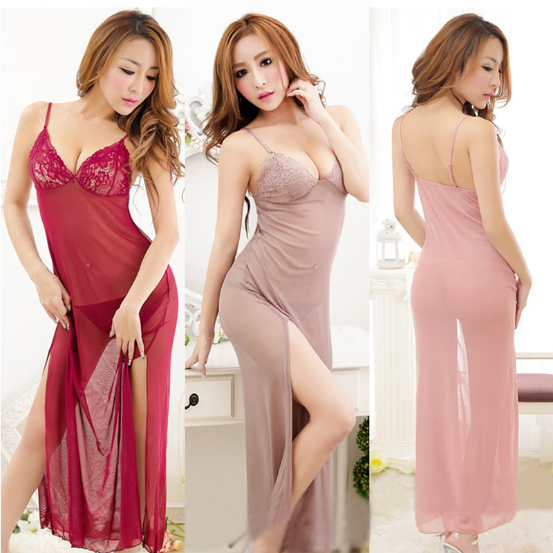New Sexy Lace Lingerie Long Dress+G-string Lingerie Erotic Babydoll Sleeveless Transparent Underwear Sleepwear One Size