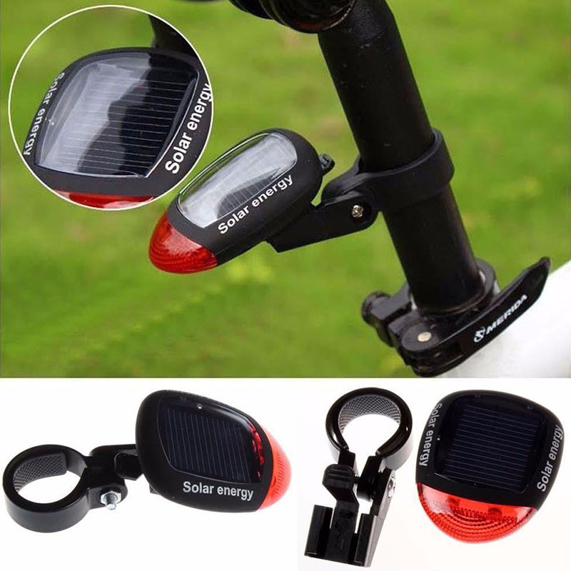 Bike Light Solar Powered LED Rear Flashing Tail Light For Bicycle Cycling Lamp Safety Warning Flashing Light Accessories