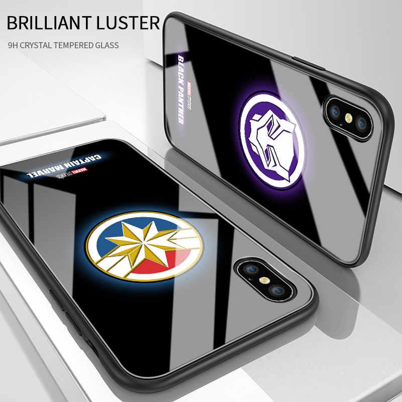 Para oneplus 5 t 6 6 t 7 7 t 8 pro brilho luminoso no escuro marvel logo brilhante caso ironman panther thor vidro temperado capa embalagem