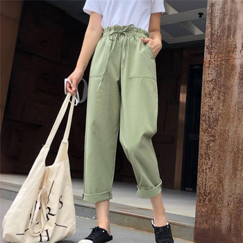 Simple Women Pants High Elastic Waist Pants Ankle Length Haren Pants Casual Harajuku Spring Summer Long Thin Section Trousers image
