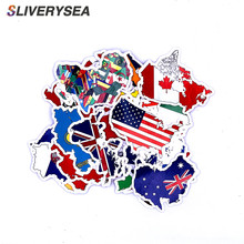 50Pcs National Flags Stickers Countries Map Travel Sticker to DIY Scrapbooking Suitcase Laptop Car Motorcycle