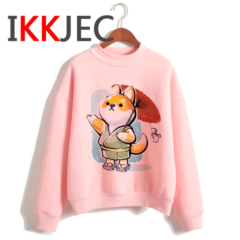 Shiba Inu Kawaii Dogs Funny Cartoon Grunge Aesthetic Hoodies Women Ladies Harajuku Cute Anime Sweatshirt Streetwear Hodoy Female 22