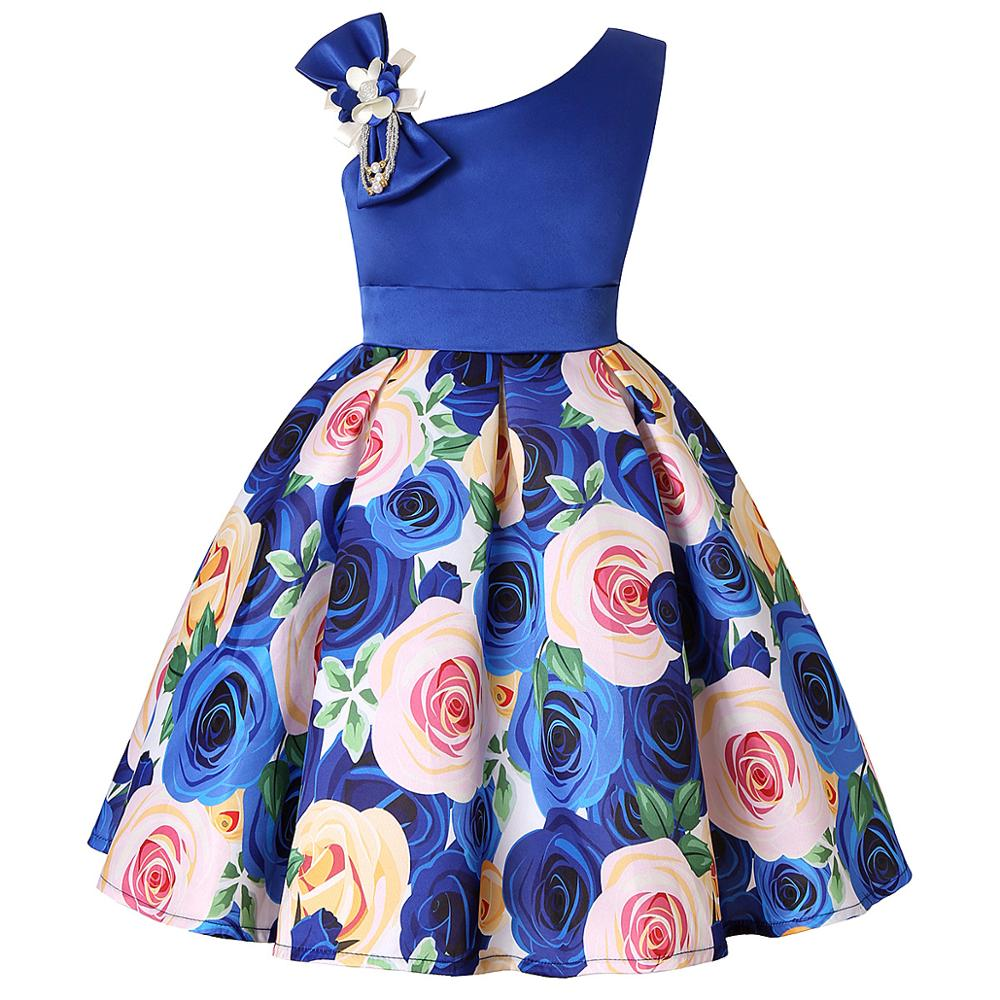 Girls Dress For Kids Clothes Flower One-shoulder Pageant Birthday Wedding Party Princess Children Dress 3 4 5 6 7 8 9 years 3