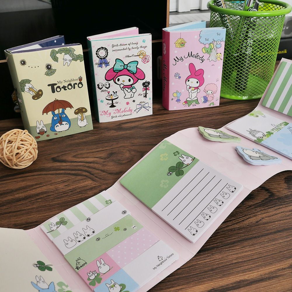 Cute Totoro Melody 6 Folding Memo Pads Sticker Notes Bookmark Gift Stationery School Office Supply Gift For Kid Creative