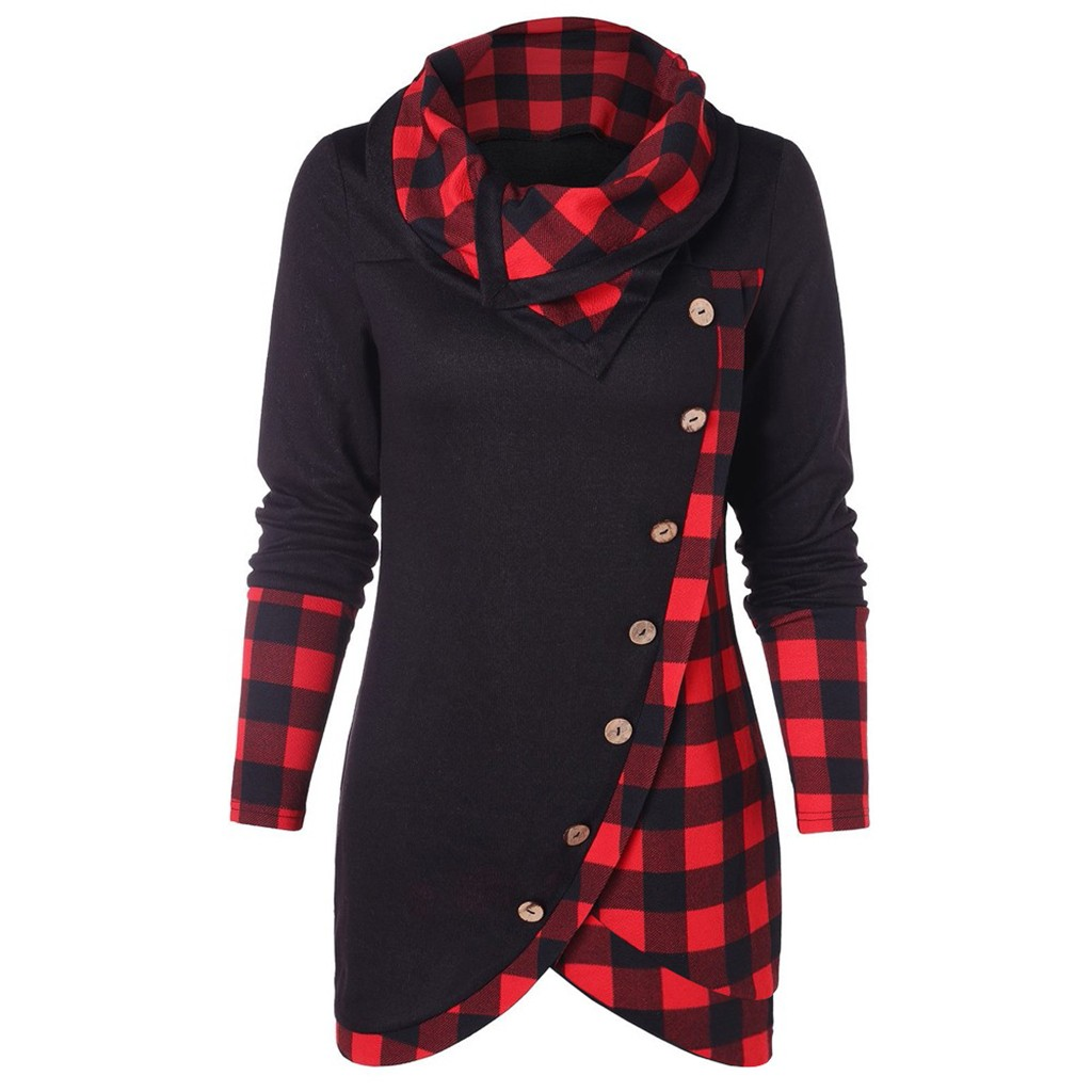 Women's Sweatshirt Moletom Feminino Inverno kpop Blouse Women Long Sleeve Plaid Turtleneck Tartan Tunic Sweatshirt Pullover Tops