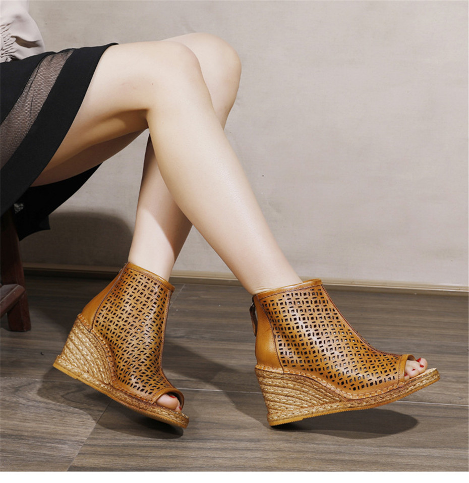 Spring Summer 2020 New Women Wedges Sandals Genuine Leather Peep Toe Hollow Woven High Wedge Heels Shoes Woman High-Top Sandals (3)
