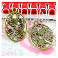 40pcs Charms flower 21*32MM Antique Making pendant fit,Vintage Antique bronze color ,DIY Handmade Jewelry