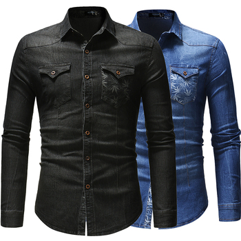 Men Shirts 2020 New Foreign Trade Denim Shirt with Leaf Print Pocket Decoration for Men's Long Sleeve Shirt men figure print patched denim shirt