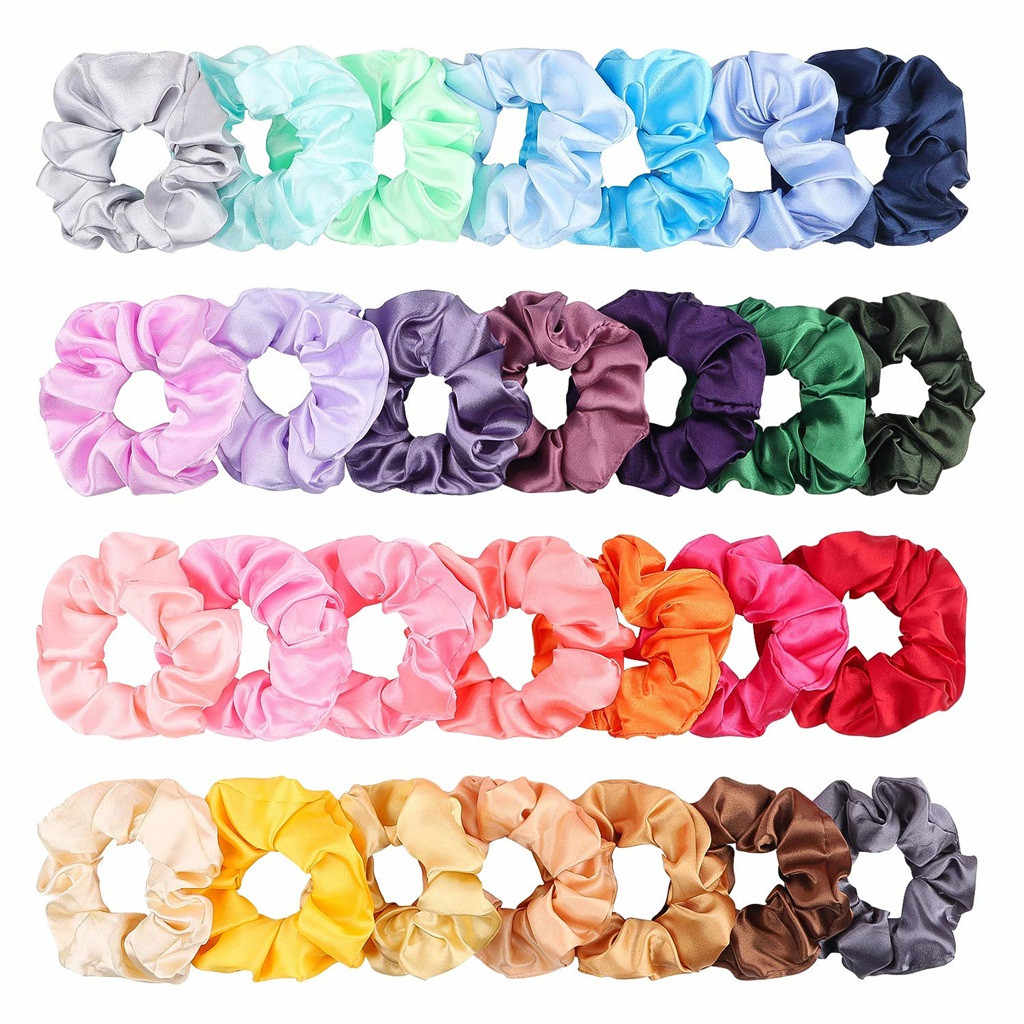 Scrunchies 28 Pcs Silk Satin Hair Scrunchies Women Elastic Hair Bands Girls Headwear Ponytail Holder Silky Hair Accessories ##1