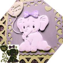 Vela animal bebê morre elefante coração de amor metal corte dados scrapbooking para diy corte corte artesanato morrer m
