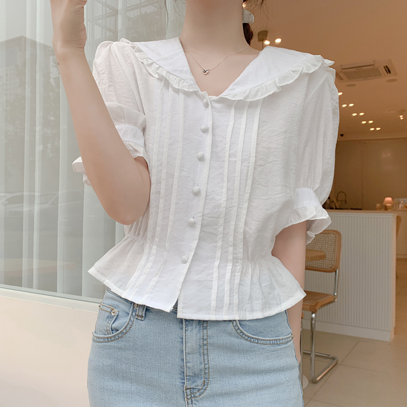 Shintimes Short White Shirt Ruffles Blouse Women Clothes 2020 Summer Tops Button Preppy Style New Peter Pan Colla Blouses Ladies