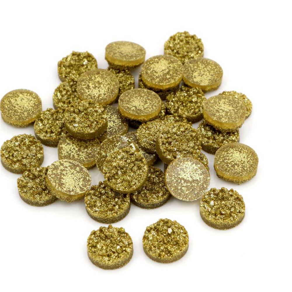 New Fashion 8mm 10mm 12mm 40pcs Gold Colors Natural Ore Style Flat Back Resin Cabochons For Bracelet Earrings Accessories