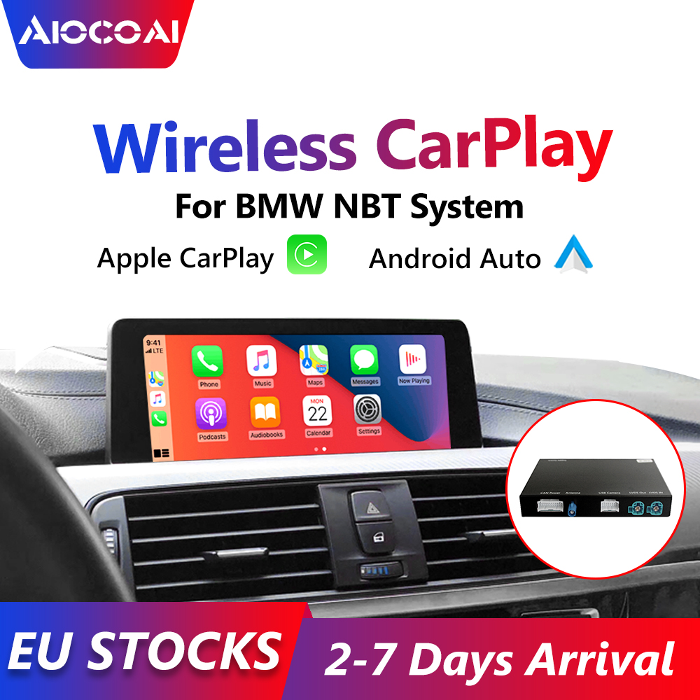 Беспроводная автомобильная интерфейсная коробка Carplay Android для BMW F01, F10, F12, F15, F16, F20, F22, F25, F26, F30, F32, F48, система NBT, камера заднего вида
