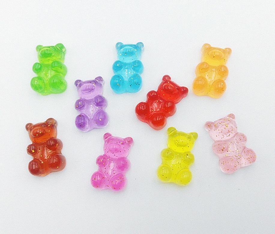 Kawaii Flatback Sunset Glitter Faux Candy 25pc Cabochon Looks so Real Resin Gummy Bears Flat Back