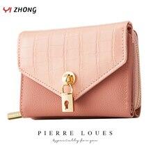 YIZHONG Luxury Leather Women Wallets Korea Short Simple Purses Ladies Solid Card