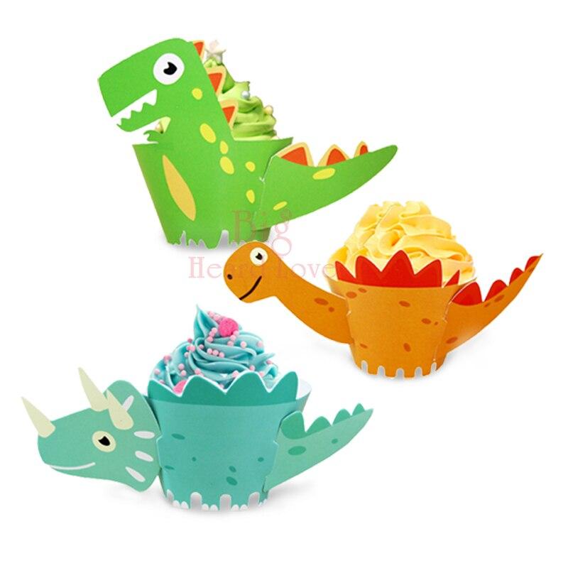 12 шт./партия обертки для кексов мультфильм Динозавры край по краю торта ребенок душ вечерние торт детская вечеринка на день рождения украшения - Цвет: Multi