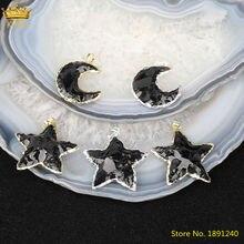 5 шт натуральные черные Агаты Звезды Луна Форма Золотые Серебристые