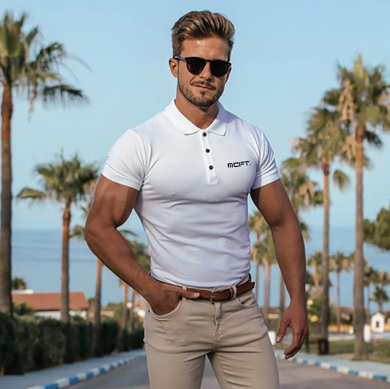 Men/'s Slim Short Sleeve Shirts Casual Gol T-Shirt Mulscle Embroidered Polo Shirt