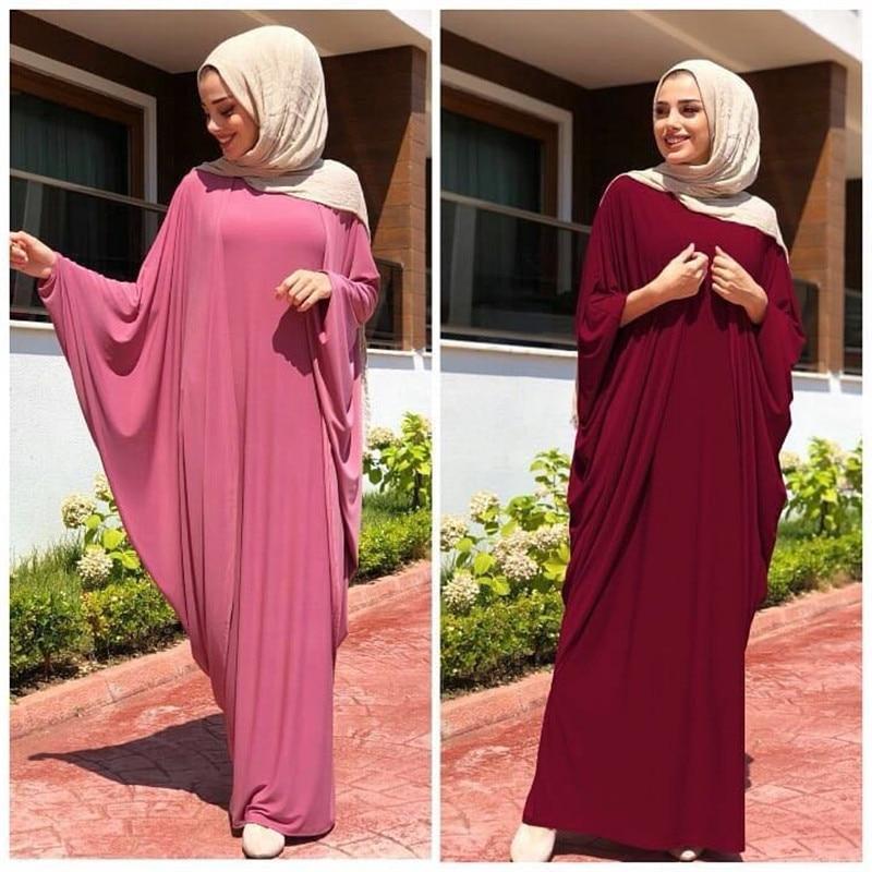 Muslim Prayer Garment Hijab Dress Women Bat Sleeve Jilbab Abaya Islam Kaftan Robe Ramadan Loose Worship