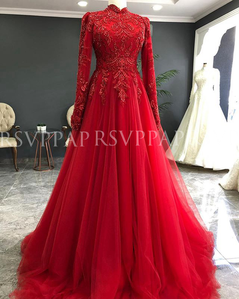 Long Muslim Evening Dresses 2020 Gorgeous Long Sleeve Beaded Lace Arabic Dubai Ladies Burgundy Tulle Formal Evening Gowns