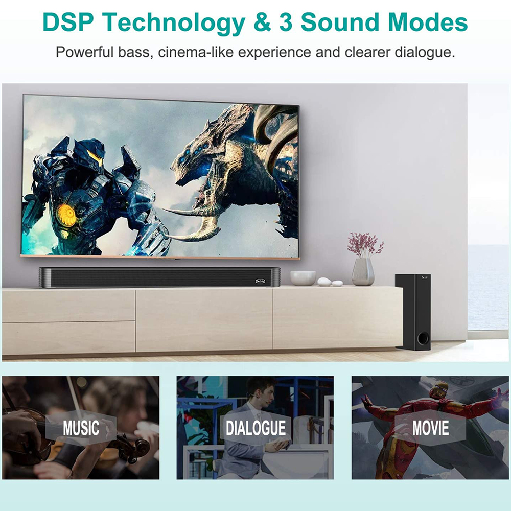 120W Home TV Theater Soundbar Bluetooth 5.0 Speakers Wireless Sound Bar 3D Stereo Column Surround Subwoofers with Remote Control 5