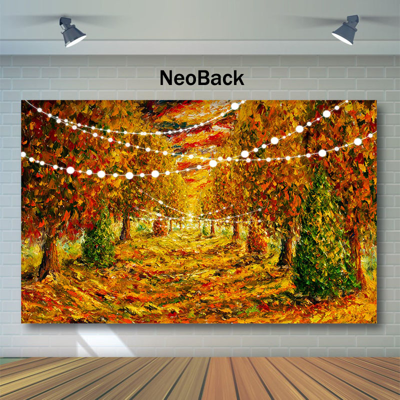 NeoBack Autumn Oil Painting Backdrop Natural Scenery Forest Maple Leaf Photography Dessert Table Decor Props Background