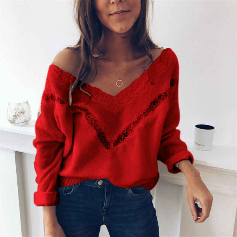 2019 Hot Sale Outono Encabeça Mulheres Sexy Low Cut Lace Patchwork Branco Mulheres Longa Sleve Blusa Sexy Tops e Blusa