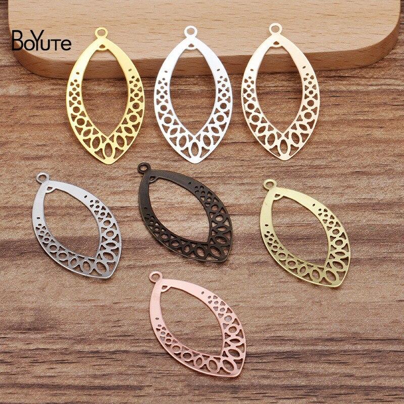Boyute (50 peças/lote) 20*37mm folha de metal bronze filigrana conector encantos para fazer jóias diy feito à mão acessórios