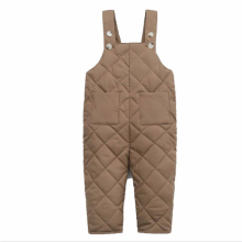 Комбинезон для маленьких мальчиков однотонный хлопковый комбинезон на пуху для девочек, детская одежда Новинка года, зимние детские теплые штаны с карманом
