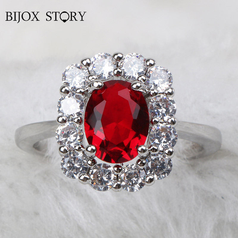 BIJOX STORY elegant ring 925 sterling silver jewelry with oval shaped ruby gemstones fashion rings for female wedding engagement