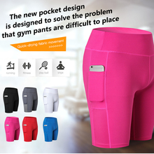 Hot Sexy Pocket Gym Women Shorts Compression Fitness Tight Athletic Clothing for Yoga Sports Trousers Running Legging Short