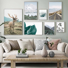 Deer Mountain Road Forest Leaf Quote Wall Art Canvas Painting Nordic Posters And Prints Wall Pictures For Living Room Home Decor blue sky snow mountain forest landscape wall art canvas painting nordic posters and prints wall pictures for living room decor