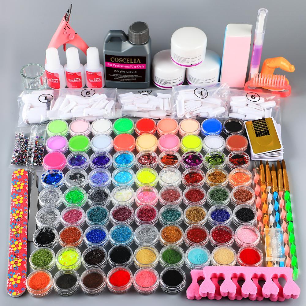 COSCELIA 120ML Acrylic Liquid Manicure Set Acrylic Nail Kit Acrylic Powder Nail Kit Professional Set Nail Art Decorations