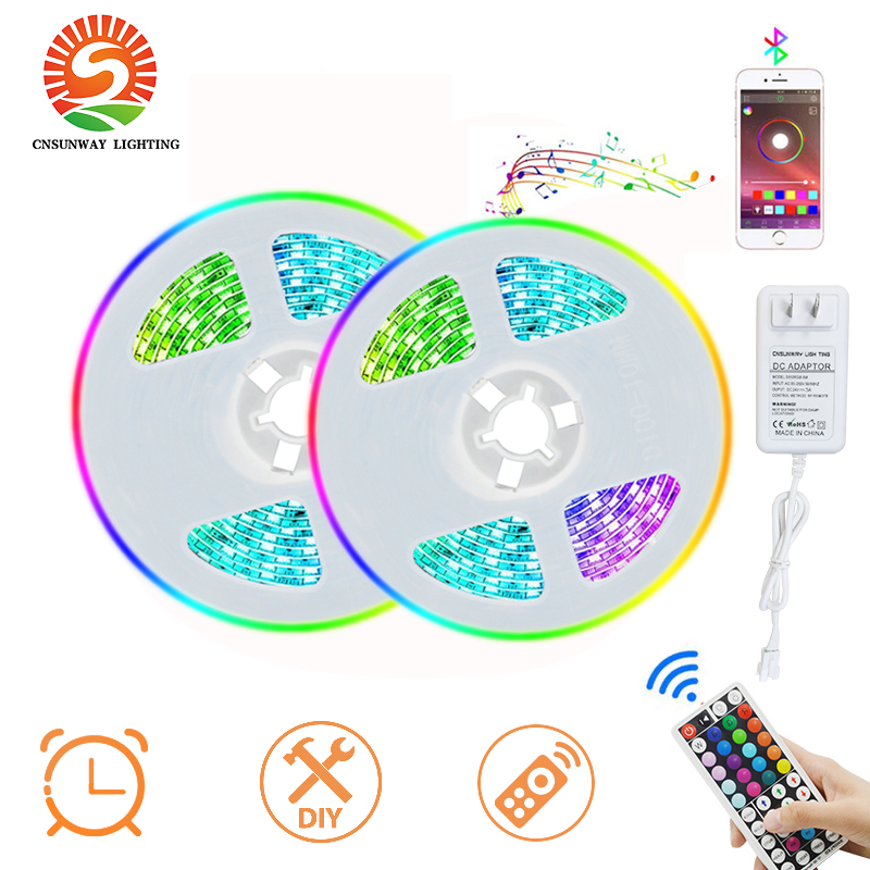 LED Strip Lights 24V 5050 RGB Light Strips With Bluetooth APP Control Sync To Music Apply For TV Bedroom Party Home Decoration