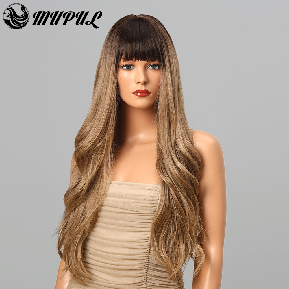 Blonde Ombre Wave wig Long Daily Synthetic Wigs With Bangs For White Black Women Cosplay Heat Resistant Hair Fiber Party Wig
