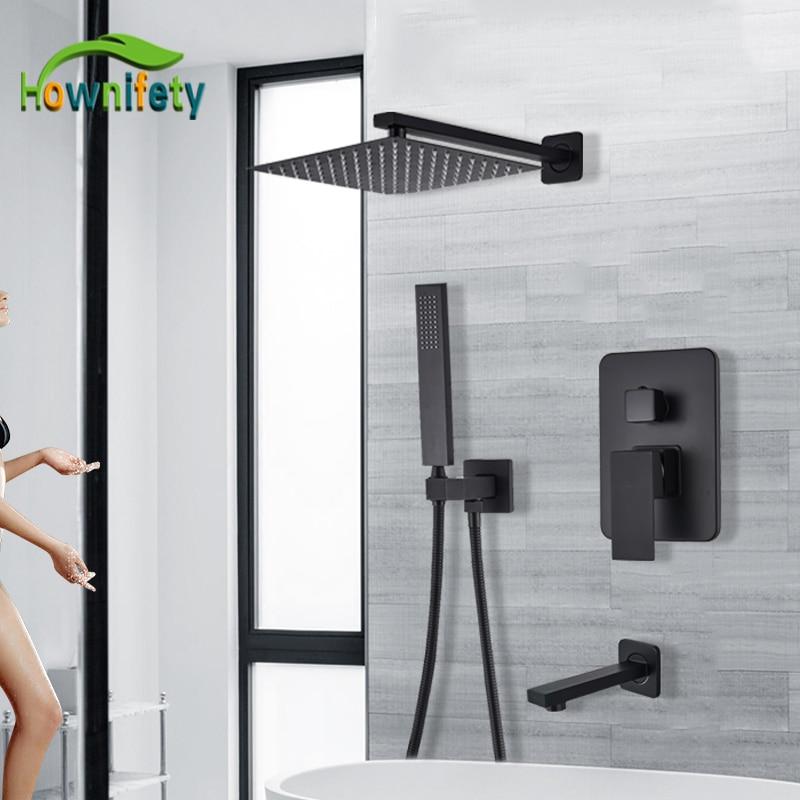 matte black bathroom shower set faucet hot cold wall mount rainfall ultra thin shower head tub faucet