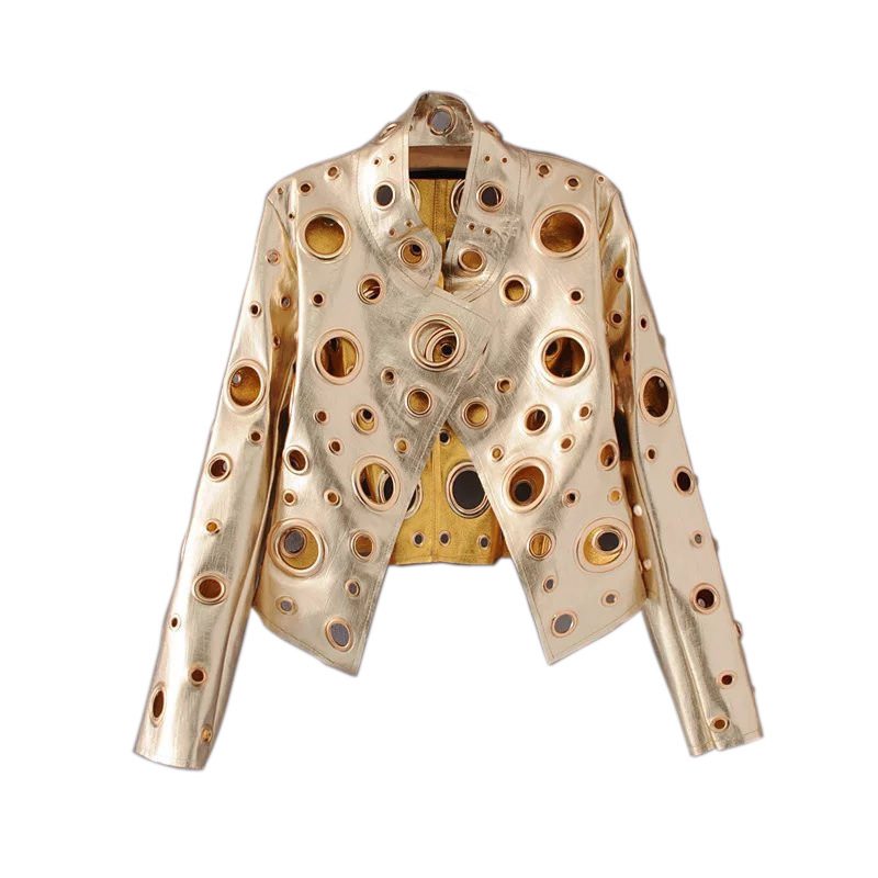 Gold Rivet Ring Women's PU Hollow Out   Leather   Street Trendsetters Autumn New Short Coat Female Jackets O Neck Long Sleeve Loose