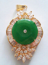 +++828 Emerald Green Jade 18KGP Crystal Luck Talisman Flower Pendant and Necklace(China)
