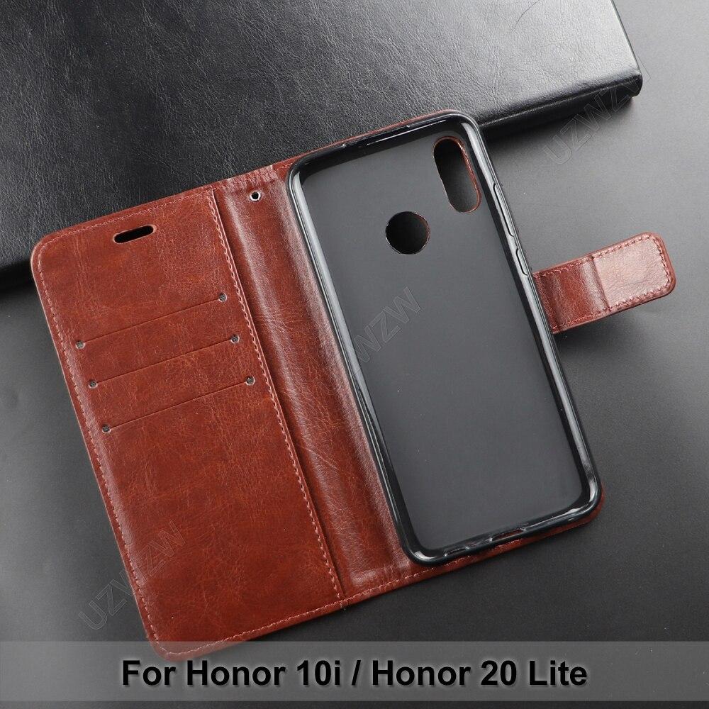 Para honra 20 lite/honra 10i flip carteira capa de couro do plutônio