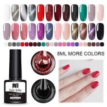 NEE JOLIE 8ml Blinking Nail Gel Polish Cat Eye Summer Ocean Soak Off Art UV Varnish Colorful Manicure