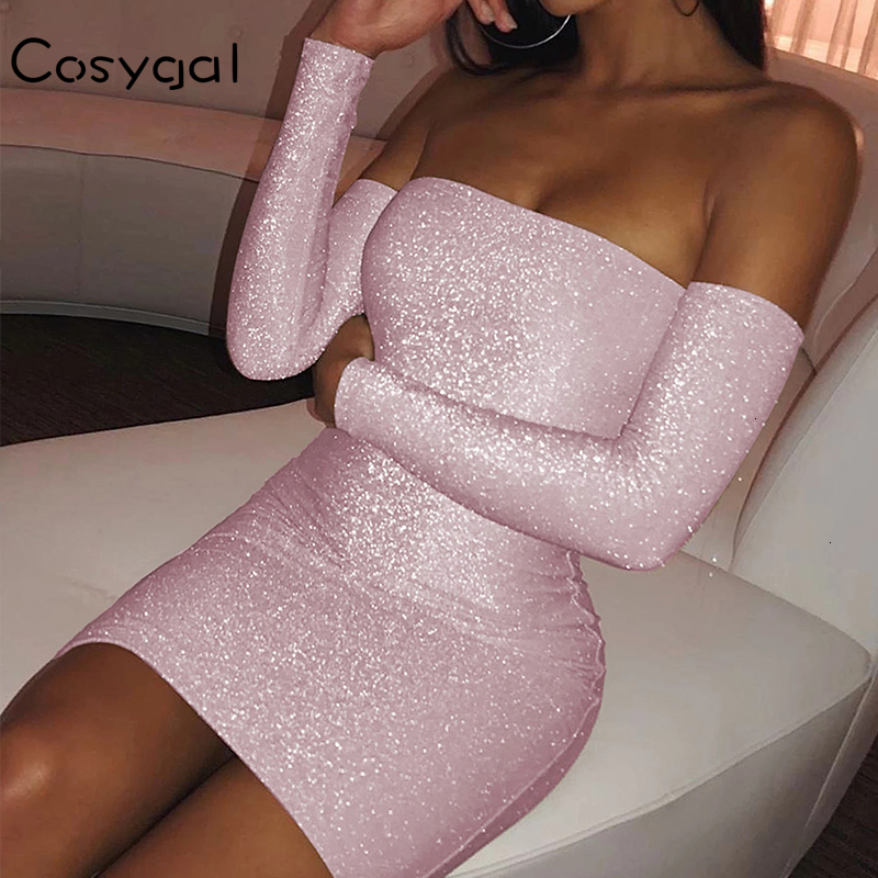 COSYGAL 2019 Long Sleeve Winter Autumn Sexy Dresses Women Fashion Off Shoulder Bodycon Dress Reflective Night Club Party Dresses Dresses  - AliExpress